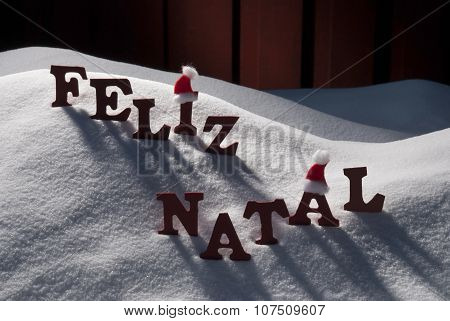 Card With Santa Hat, Snow, Feliz Natale Mean Merry Christmas