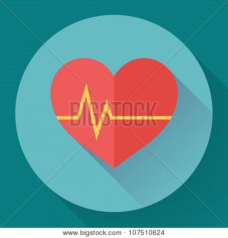 Abstract World health day concept with heart and beats.