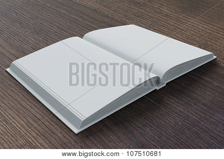Blank Pages Of Diary On Dark Brown Wooden Table, Mock Up