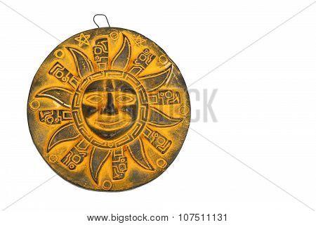 Mexican Yellow Ceramic Sun Souvenir Isolated On White