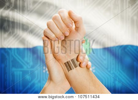 Barcode Id Number On Wrist And National Flag On Background - San Marino