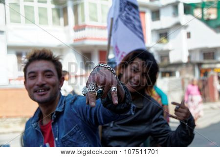 Nepalese Bikers Gathering For A Political Rally