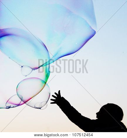 Close-up Soap Bubble hand reach Background Modern Simple Abstract Design With Copyspace