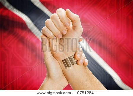 Barcode Id Number On Wrist And National Flag On Background - Trinidad And Tobago