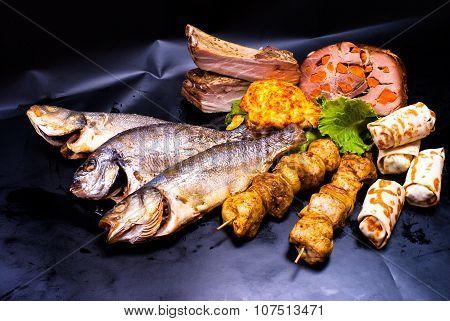 still life - fried fish, kebab, steak