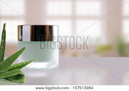 Aloe Vera Cream Jar Closed Windows Background