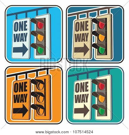Traffic Lights And A Sign