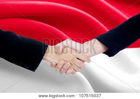 Handshake With Flag Of Indonesia