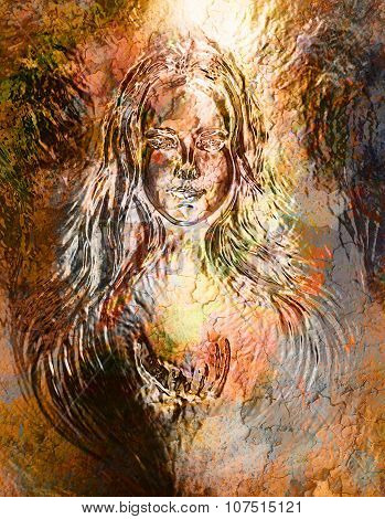 Woman goddess. Young  woman coated in metallic gold  paint. Crackle effect.