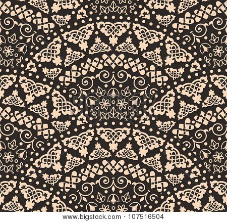 Vector abstract seamless geometric background from beige and black fan shaped ornate elements with ethnic patterns. Style mandala pattern in vintage design