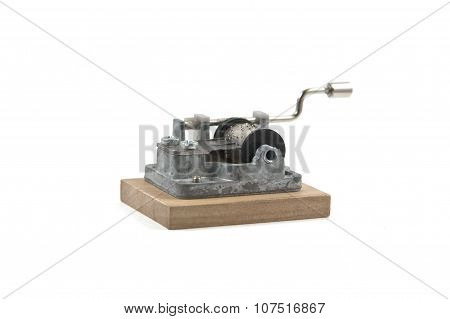 retro hurdy-gurdy on white background