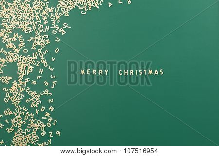 Merry Christmas Background Text Made Of Pasta