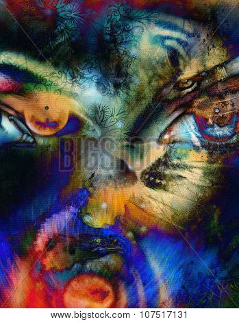 womamn eye on  color abstract background