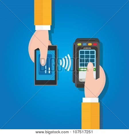 NFC near field communication mobile payment man holding smart phone cashier with edc terminal in han