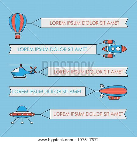 Set Of Air Vehicles With Banners. Ufo Rocket Helicopter Aerostat Balloon Airship With Banner