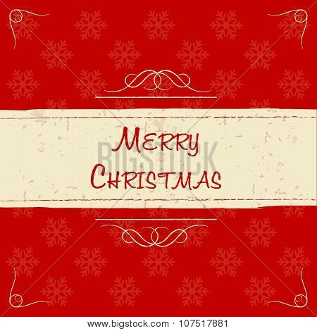 Merry Christmas In Retro Beige Frame, Greeting Card