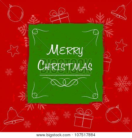 Merry Christmas In Green Frame, Greeting Card