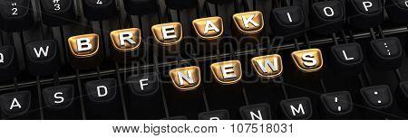 Typewriter with BRAKE NEWS buttons