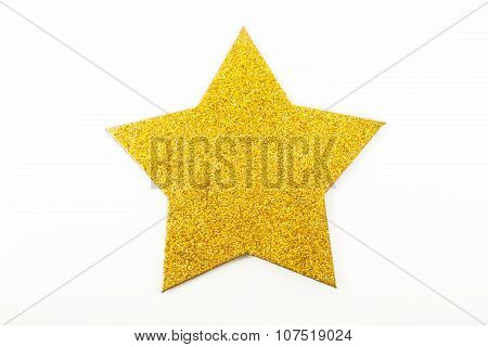 Golden Christmas Star Ornament Isolated On White