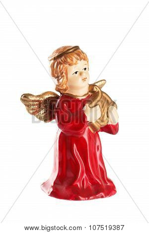 Christmas Angel Decoration On A White Background