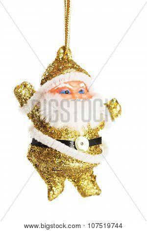 Santa Claus Figure Isolated On White, Christmas Decoration