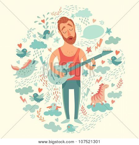 Singer cartoon guitarist playing guitar on a colorful background