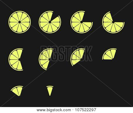 Citrus Slices. Orange, Lemon, Lime And Grapefruit Slices Vector Icons Set