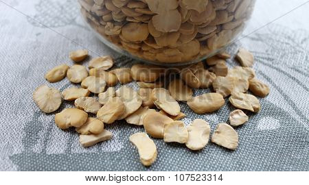 Dried Beans in a glass jar on the table