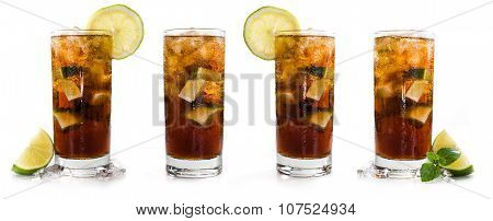 Longdrinks (cuba Libre) Isolated On White