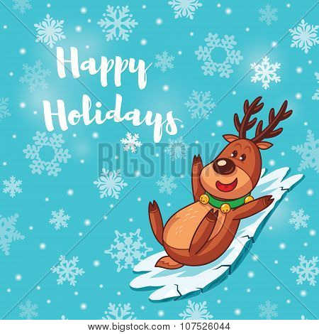 Happy Holidays card with cute cartoon deer