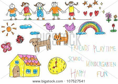 Kindergarten Children Doodle Pencil And Crayon Color Drawing Of A Friend And Kid Imagination Playing