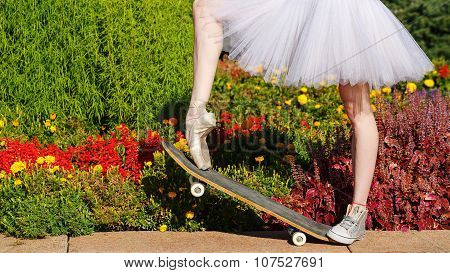 Legs Ballet Dancer On A Skateboard.