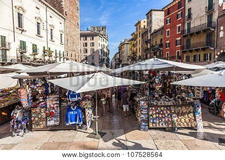 People Visit The Street Markets In Verona