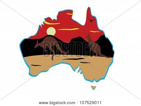 Australia Map And Hopping Kangaroo