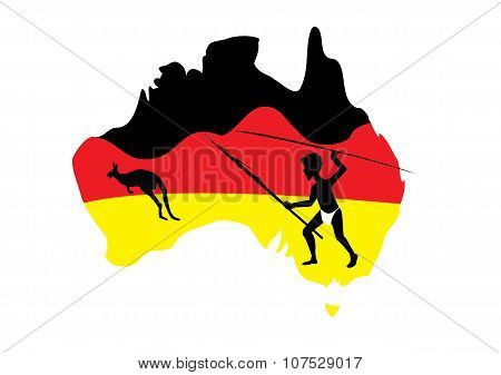 Map Of Australia And Aboriginal Man
