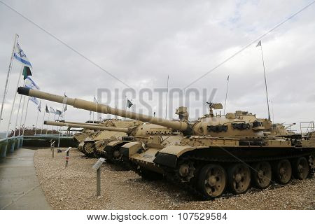 Vintage tanks on display at Yad La-Shiryon Armored Corps Museum