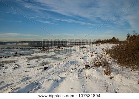 Frozen Fjord In Winter, Norway