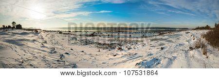 Panorama Of Frozen Fjord Kurefjorden In Winter, Norway