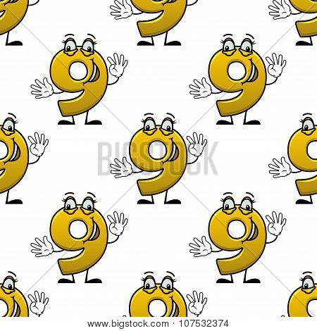 Seamless cartoon number nine characters pattern