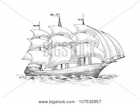 Sailing ship on the ocean with fluttering sails