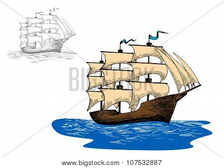 Old sailing ship in calm blue ocean