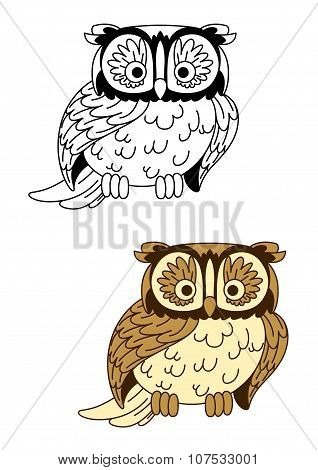 Brown and colorless cartoon owl bird mascot