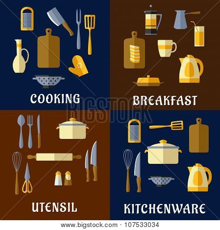 Cooking utensil and kitchenware flat icons