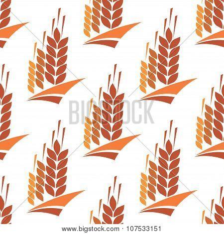 Seamless pattern of wheat, rye and barley