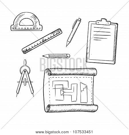 Architect drawing and tools sketches