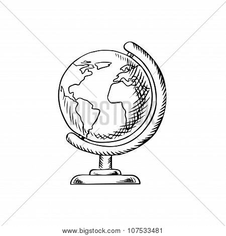 Modern globe with desktop stand sketch