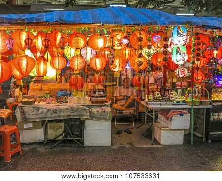 Typical Chinese Shops Are Open Tonight In Singapore