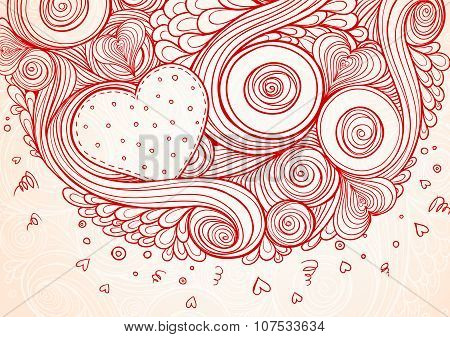 Abstract doodle ethnic  hand drawn vector love heart background.