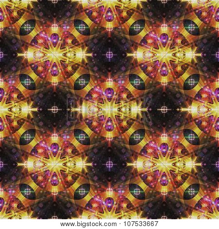 Gold and purple abstract fractal background in a seamless pattern