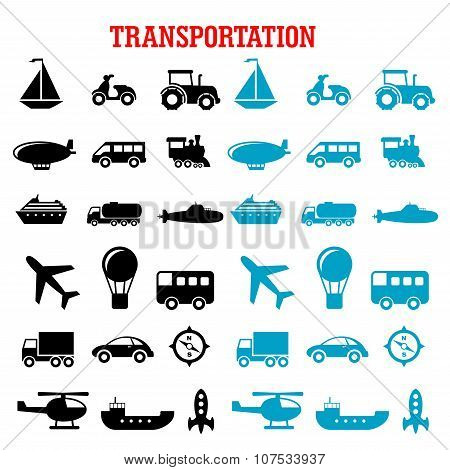 Black and blue flat transportation icons